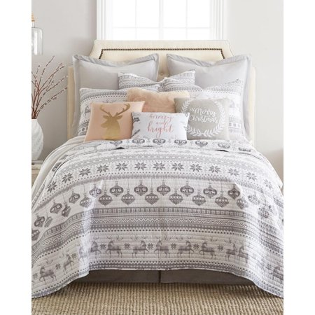 Christmas Silver Bells Reindeer Gray Holiday King Quilt & Sham Set (3 Piece - Christmas Holiday Quilt