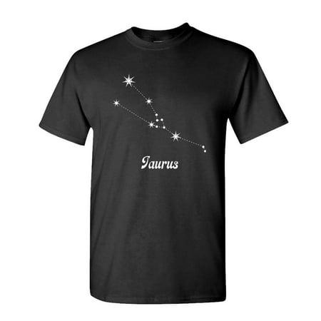 TAURUS - constellation horoscope stars - Mens Cotton T-Shirt (Small,Black)