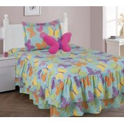 4 PIECE TWIN BUTTERFLY TURQUOISE Double Ruffle Kids Comforter Bedding Set With Fitted Sheet and Furr