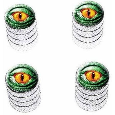- Lizard Yellow Eye Green Scales Tire Rim Wheel Aluminum Valve Stem Caps, Multiple Colors