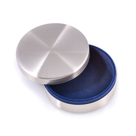 Brushed Stainless Steel Round Keepsake Box, Velvet Lining