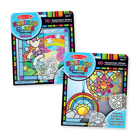 Melissa & Doug Stained Glass Made Easy Peel & Press Craft Kit For Kids 2 Pack – Rainbow & Heart Ornaments (2), Unicorn