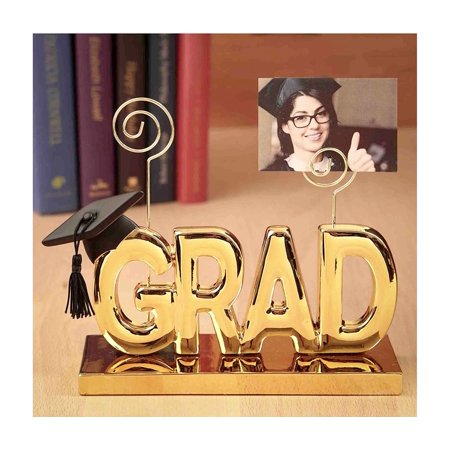 Mozlly Polyresin Luxurious Golden ?GRAD? Fashion-craft Picture Clip Holder, 6.25 Inch Gold Plated Photo Rack Decor Intricate & Meticulous Detailing Art Handcrafted Tabletop Accent Home Accessories ()