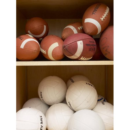 Volleyballs and Footballs Stored on Wooden Shelves of Storage Closet Print Wall Art (Football Shelf)