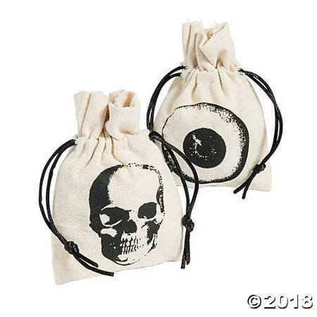 Mini Vintage Halloween Canvas Drawstring Treat Bags(pack of 4)