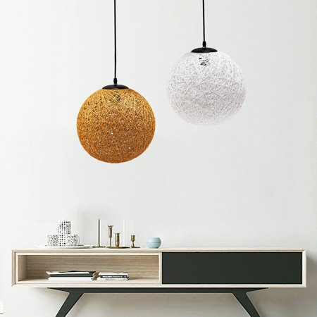 Modern Pendant Lamp Chandelier Natural Rope Ceiling Light Fixture for Bar Cafe Shop Living Room Dining Room Home Decor