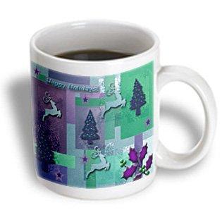 3dRose Reindeer and Trees, Green and Purple, Ceramic Mug, - Ceramic Reindeer