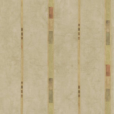 Brewster Tenney Beige Checkered Stripe Wallpaper