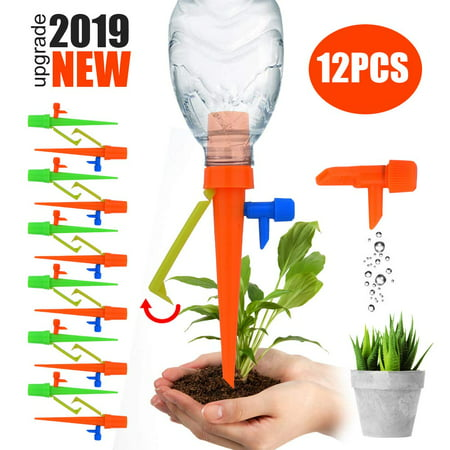 【2019 NEW 】Plant Self Watering Spikes System with Slow Release Control Valve Switch Self Irrigation Watering Drip Devices, Plant Waterer with Anti-Tilt Anti-Down Bracket, Suitable for All Bottles 12pc ()