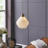 Mai Pendant Lamp w/ White Glass Shade, Midcentury Modern, Matte White