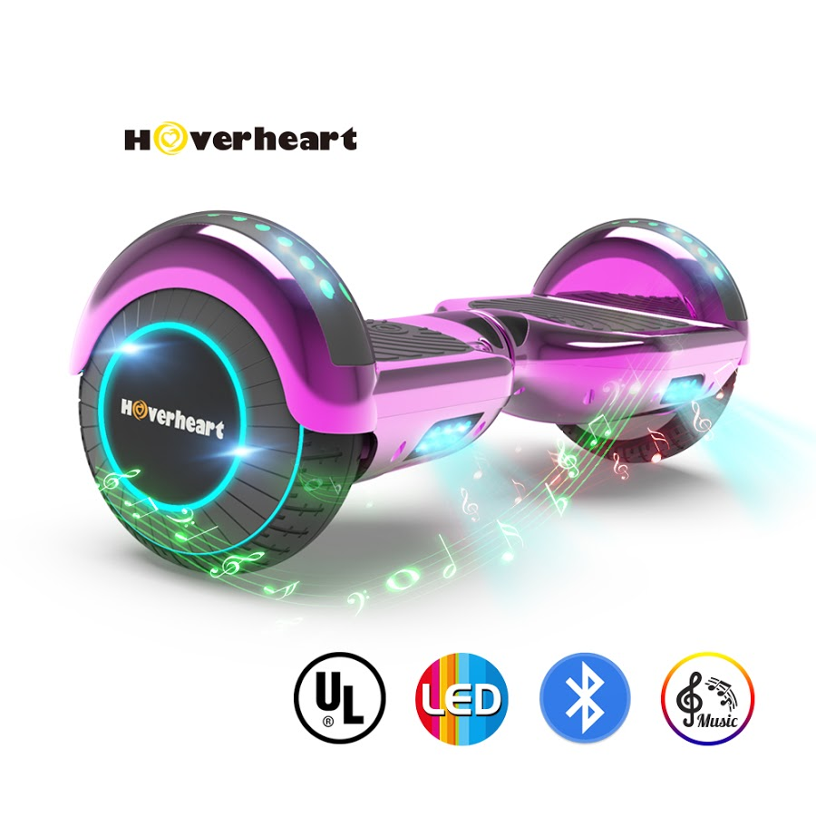 """HOVERHEART UL 2272 Certified LED Hoverboard 6.5"""" Self Balancing Wheel Electric Scooter -Chrome Pink"""