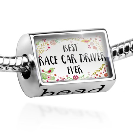 Bead Happy Floral Border Race Car Driver Charm Fits All European