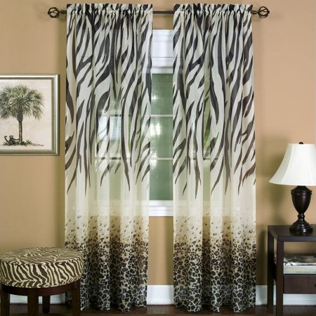 Window 2-Pack Panel Curtain Animal Print Zebra Semi-Sheer Light Filtering