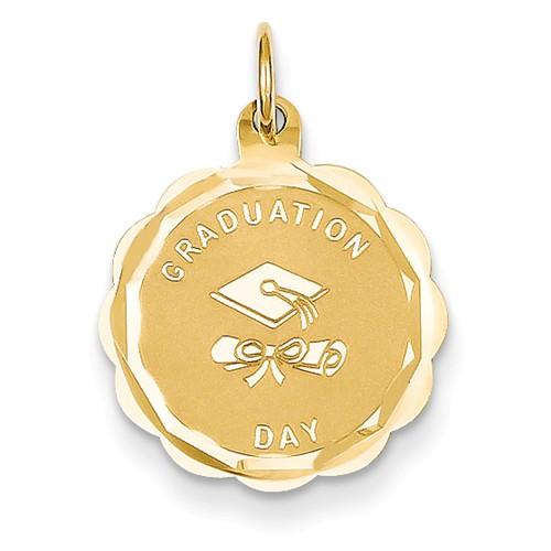 14k Yellow Gold Engravable Graduation Day Charm Pendant