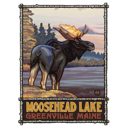 Moosehead Lake Greenville Maine Moose Travel Art Print Poster by Paul A. Lanquist (9