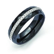 Sterling Silver & CZ Ceramic Band Black Ring
