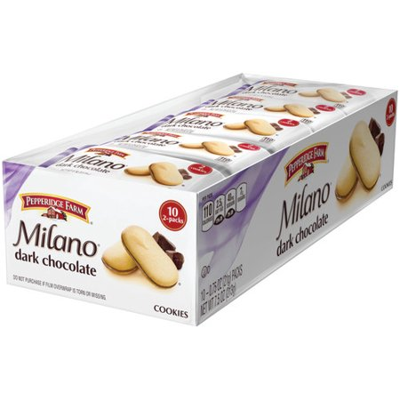 Pepperidge Farm Milano Dark Chocolate Cookies, 7.5 oz. Multi-pack Tray, 10-count 0.75 oz. 2-packs ()