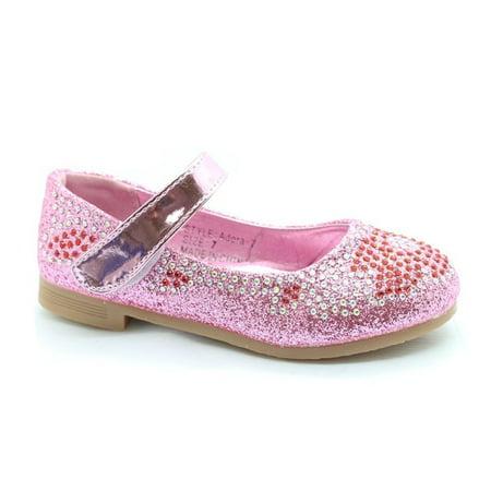 Little Girls Pink Red Glitter Rhinestone Mary Jane Dress Shoes - Pink Girls Dress Shoes