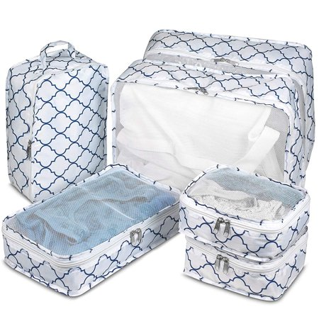 Travel Packing Cubes - 6 Piece Set Luggage Packing Organizers and Compression Packing Cube System for Travel with Shoe Bag Pouch Accessories to Organize Your Clothes Suitcase or Carry-On