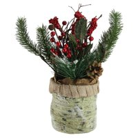 Northlight Red Berries Frosted Pine Needles and Twigs Christmas Centerpiece