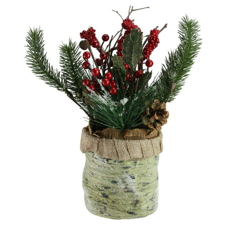 Northlight Red Berries Frosted Pine Needles and Twigs Christmas (Pinecone Centerpiece)