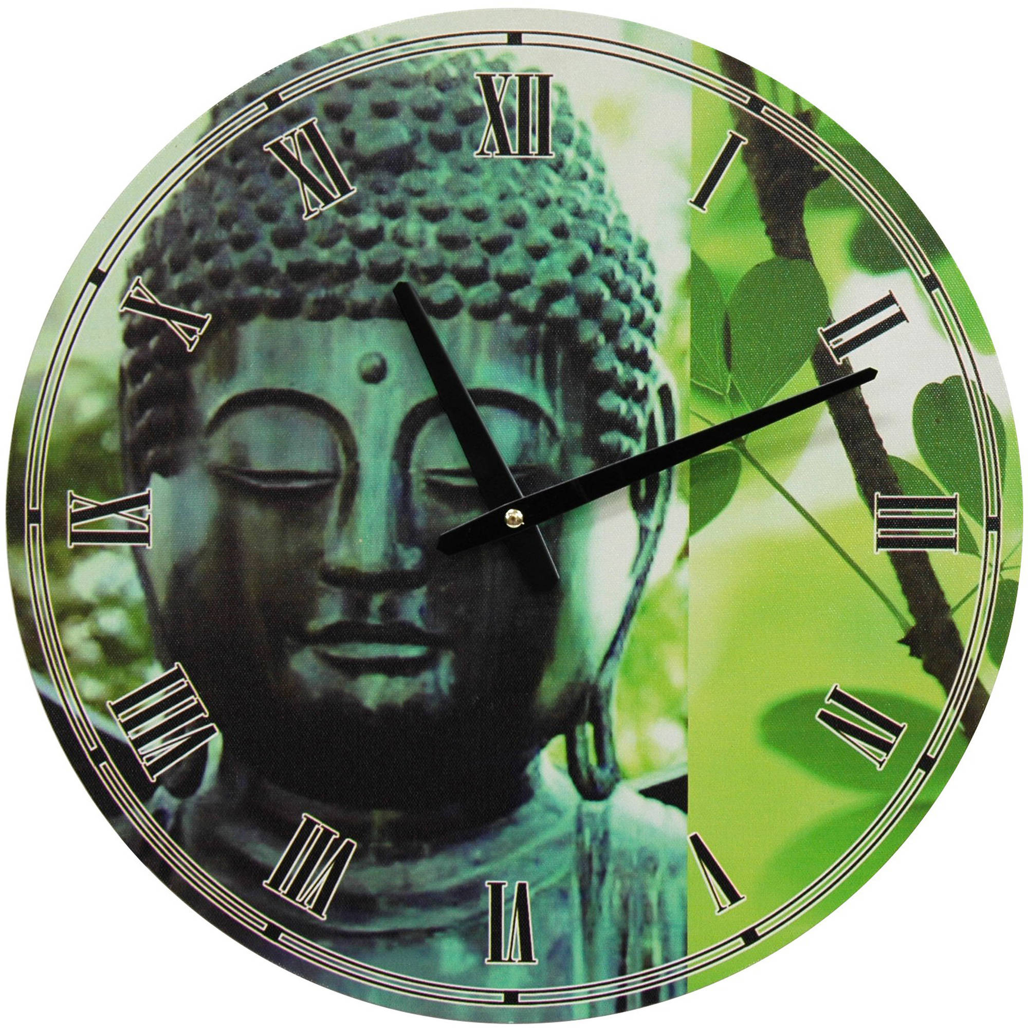 Green Patina Buddha Wall Clock
