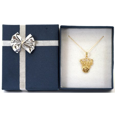 14k Yellow Gold Basketball Net Pendant With 14k Cable Chain Jewelry Gift Box