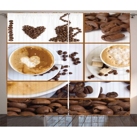 Kitchen Curtains 2 Panels Set, Coffee Themed Collage of Beans Mugs Hot Foamy Drink with a Heart Macro Aroma Photo, Window Drapes for Living Room Bedroom, 108W X 84L Inches, Brown White, by Ambesonne - Kitchen Decorating Themes