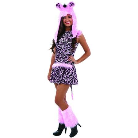 Cute Halloween Costumes Teen (Living Fiction Cute Zebra Faux Fur Tween Halloween 4pc Teen Costume, Pink)