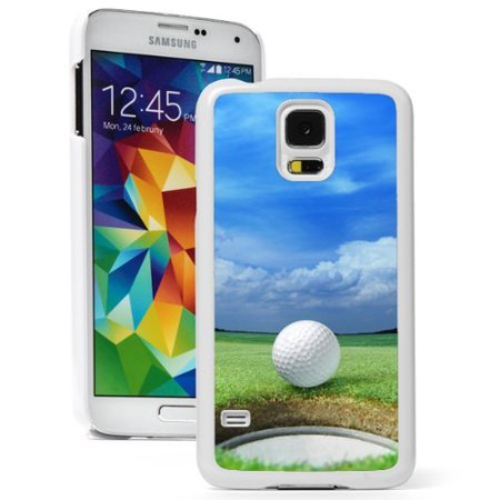 Samsung Galaxy  S5 Mini  Hard Back Case Cover Golf Ball On Lip Of Cup Green Course  White