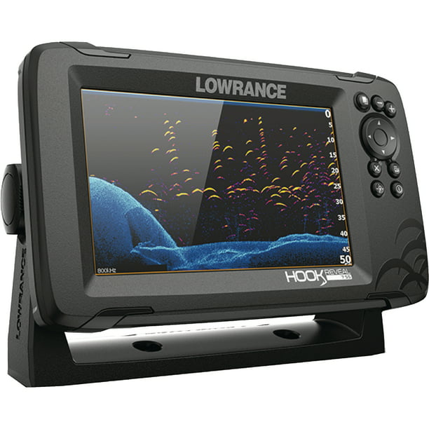 Lowrance 00015515001 Hook Reveal 7X Fishfinder Tripleshot with Downscan/Sidescan Imaging without Mapping, 7""