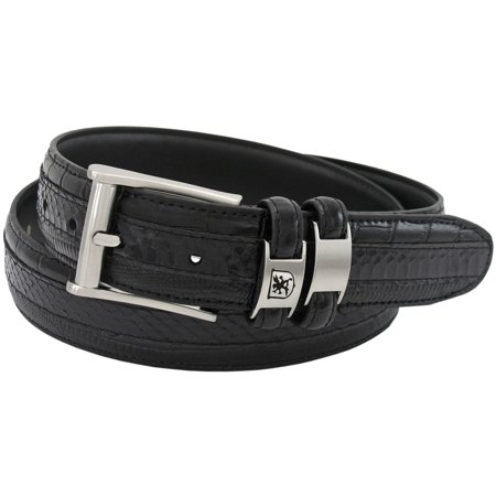 Stacy Adams Belts Stacy Adams 35mm Black Tri-Leather Big and Tall Embossed, Croc, Lizard, Snake Belt