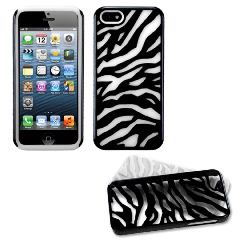Insten Natural Black Zebra Skin/Solid White Fusion Case For iPhone SE 5s