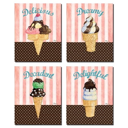 Popular Retro Ice Cream Cone Set on Stripes and Polka Dots; Four 8x10in Poster Prints. (Cream Polka Dot)