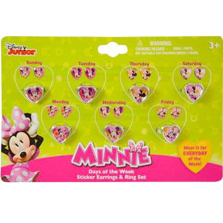 Minnie Mouse Bow-tique 7 day a week Ring and Sticker Earring Set