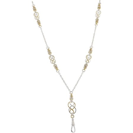 Women's Fashion Lanyard Necklace for ID Badge, Key Chain, or Phone with Two Tone, Silver and Gold Celtic Knots and Byzantine Accents, Rear Magnetic Break Away Clasp, Collection Two Tone Gold Natural