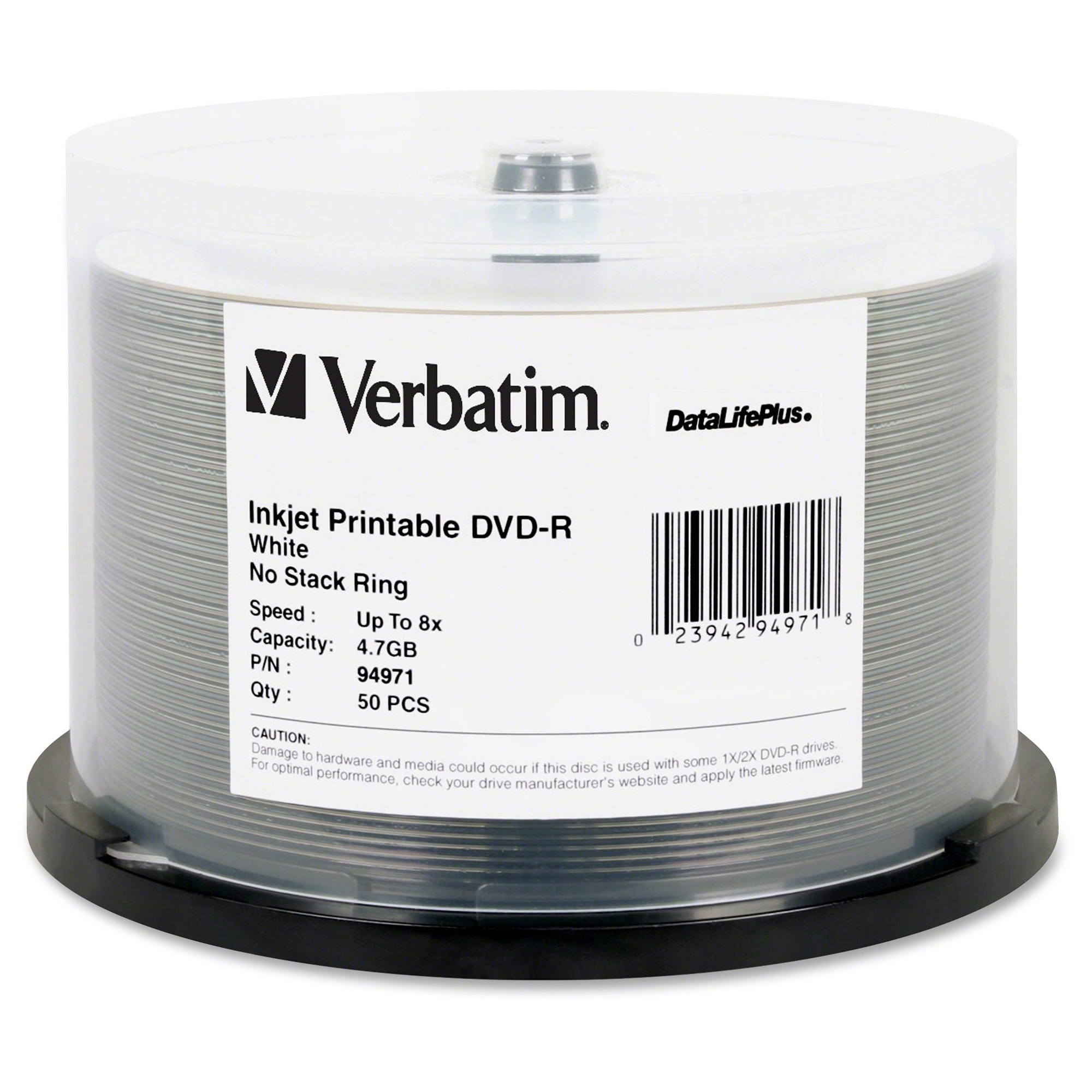 Verbatim Datalifeplus 94971 Dvd Recordable Media - Dvd-r - 8x - 4.70 Gb - 50 Pack Spindle - Inkjet Printable (ver-94971)
