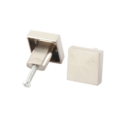 Uxcell Home Metal Square Shaped Drawer Cabinet Door Handle Pull Knob Silver Tone 2 Pcs