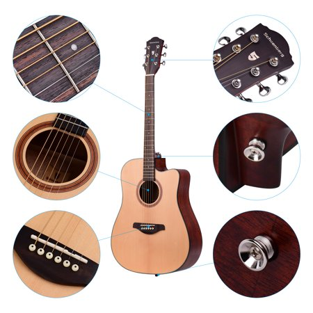 41inch Cutaway Acoustic Folk Guitar Spruce Wood Top Panel Mahogany Wood Backside Panel with Strap Bag Capo Picks Strings - image 1 of 7