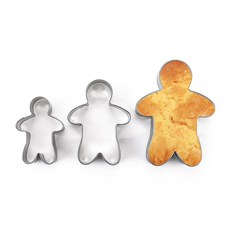 3PCS Stainless Steel Gingerbread Man Cookie Moulds Durable Fondant Cutters