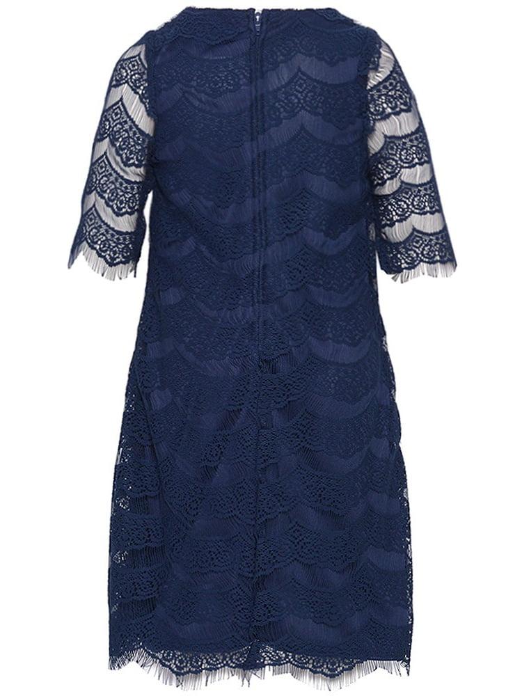 71060737913 Rare Editions - Rare Editions Little Girls Navy Lace Detailing Designer  Dress 6 - Walmart.com