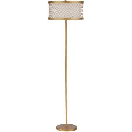 Safavieh evie mesh floor lamp with cfl bulb antique gold for Gold floor lamp walmart