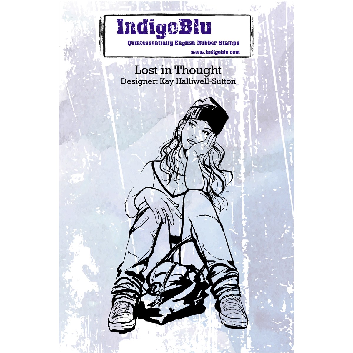 """IndigoBlu Cling Mounted Stamp 5""""X4""""-Lost In Thought"""