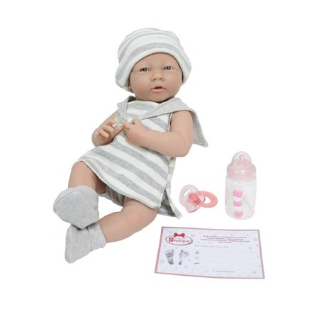 "La Newborn by JC Toys Soft Vinyl Realistic Anatomically Correct Real Girl 15"" Baby Doll in Grey Striped outfit Designed by Berenguer"