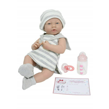 """La Newborn by JC Toys Soft Vinyl Realistic Anatomically Correct Real Girl 15"""" Baby Doll in Grey Striped outfit Designed by Berenguer"""