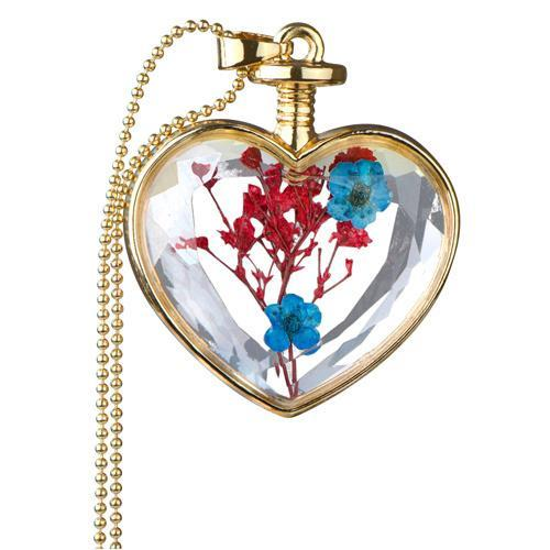 Emitations Alloy Gold Color Flower Glass Heart Locket Necklace