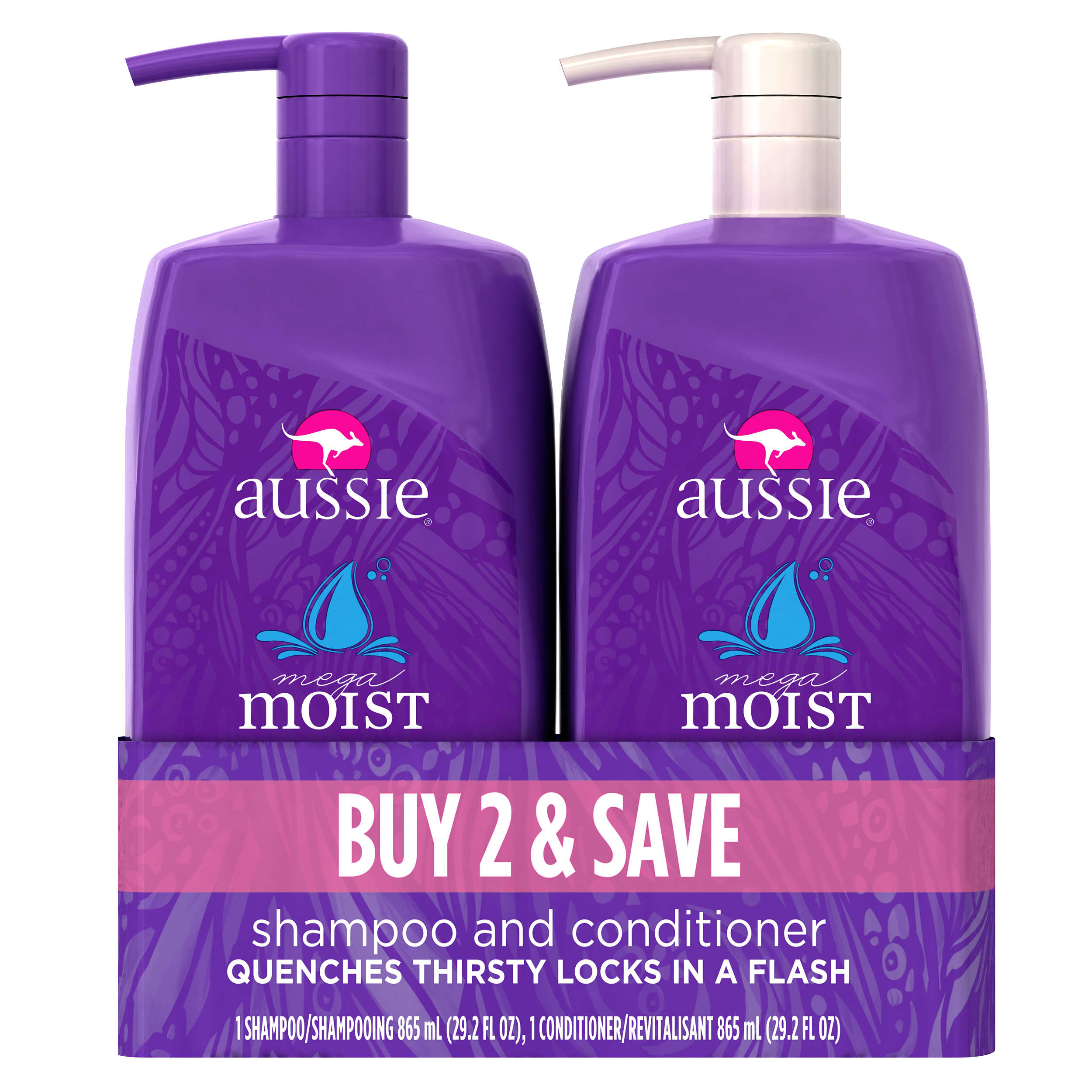 Aussie Mega Moist Shampoo and Conditioner Dual Pack, 29.2 fl oz (Each)