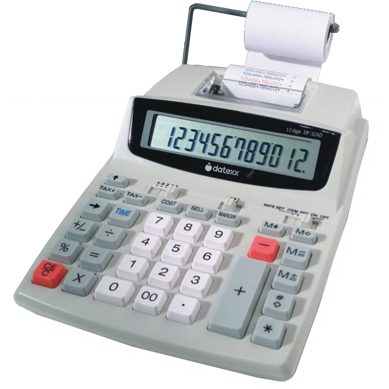 Datexx DP-32AD - Printing calculator - LCD - 12 digits - battery, AC adapter