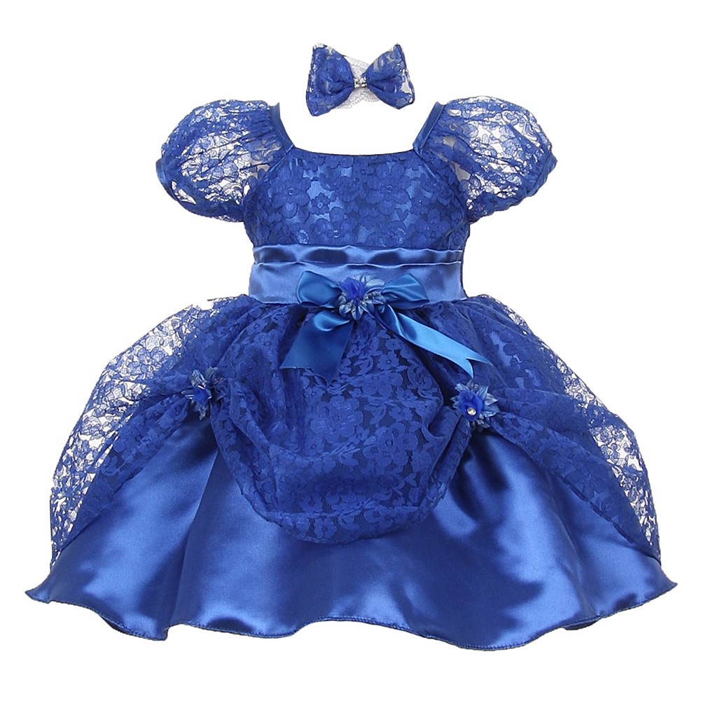 Baby Girls Royal Blue Lace Ribbon Headband Special Occasion Dress 24M