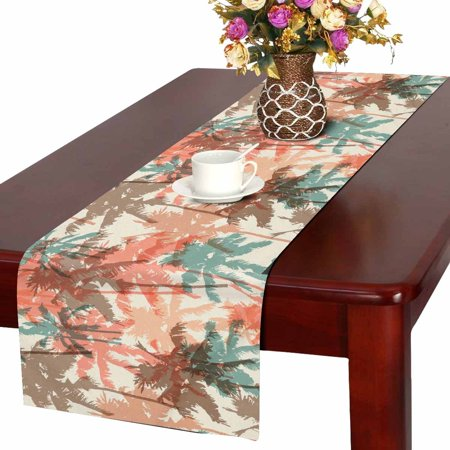 MKHERT Watercolor Palm Tree Table Runner, Tropical Coconut Table Cloth Runner for Wedding Party Banquet Decoration 14x72 inch - Coconut Decorations For Parties